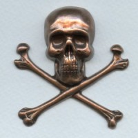 Large Skull and Crossbones Oxidized Copper 55mm (1)