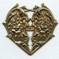 Heart and Flowers Oxidized Brass Stamping 65mm (1)