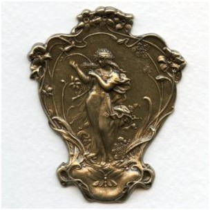 Victorian Woman with Harp Stamping Oxidized Brass (1)
