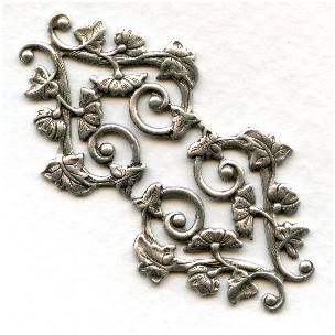 Morning Glory Motif Oxidized Silver Stamping (1)