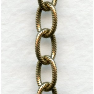 Cable Chain 9x6mm Oval Links Textured Antique Gold (3 ft)