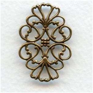 Filigree Flat Oval Connector Oxidized Brass 33mm (6)
