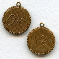 Oui and Non Pendants French Charms Oxidized Brass (6 Sets)