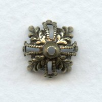 Floral and Filigree 12mm Bead Caps Oxidized Brass (12)