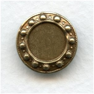 Arts and Crafts Style 10mm Oxidized Brass Settings (12)