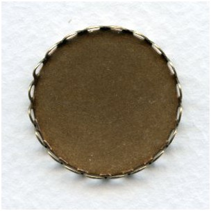 Lace Edge Settings Round 26mm Oxidized Brass (6)