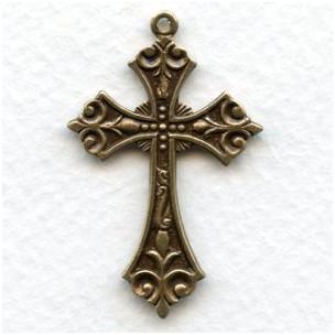 Ornate Small Cross Pendants Oxidized Brass (3)