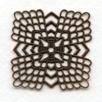 Elegant Flat Filigrees 38mm Oxidized Copper (3)