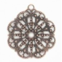 Round Filigree with Loop Oxidized Copper Plated 23mm