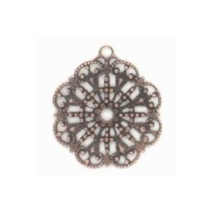 ^Round Filigree with Loop Oxidized Copper 23mm
