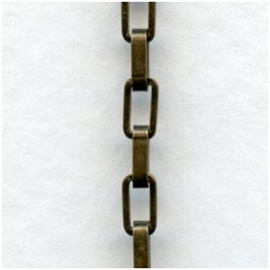 Drawn Box Chain Oxidized Brass 5x2.5mm Links (3 ft)