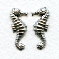 Seahorses Oxidized Silver 24mm (6 Pairs)