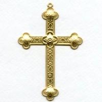 Cross 80mm Very Detailed Raw Brass (1)