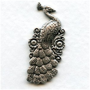 Peacock with Flowers Oxidized Silver 30mm (2)