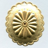 ^Three Inch Tall Raw Brass Concho with Holes (1)