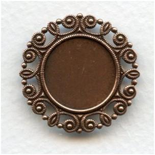Ornate Edge 18mm Flat Back Setting Oxidized Copper (6)