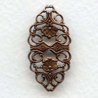 Ornate Flat Filigree Connector 32mm Oxidized Copper (6)
