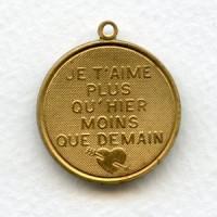 Je T'Aime Plus Qu'Hier Moins Que Demain Charm-Raw Brass (1)