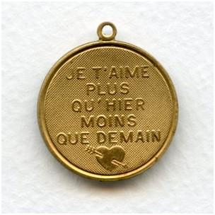 Je T'Aime Plus Qu'Hier Moins Que Demain Charm-Raw Brass
