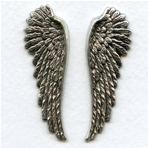 Spectacular Wings Oxidized Silver 52mm Tall (1 Set)