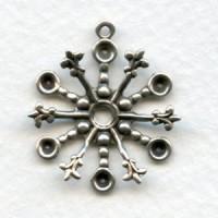 Fleur-de-Lis Tipped Snowflake Style Settings Oxidized Silver (6)