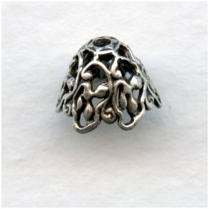 Elaborate Cone Filigree Bead Caps Oxidized Silver (6)