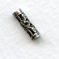 Filigree Tube Spacer Bead Oxidized Silver 12mm (12)