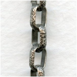 Hammered Texture Cable Chain Oxidized Silver (3 ft)