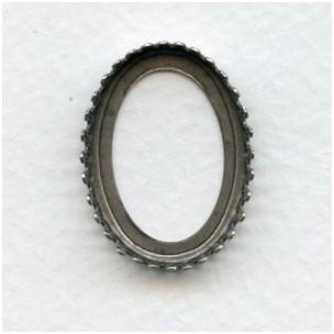 Crown Edge Open Back 25x18mm Settings Oxidized Silve