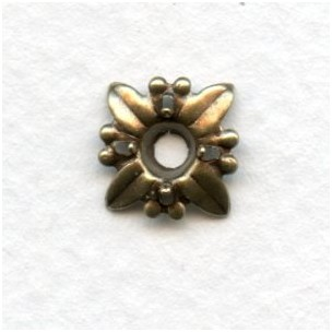Starburst Settings for 4mm Stones Oxidized Brass (12)
