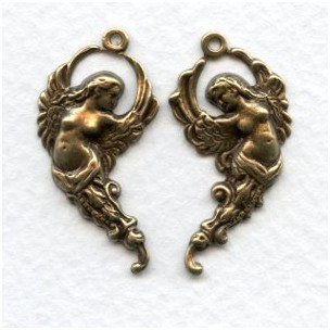 Winged Goddesses Right/Left with Loops Oxidized Brass (1 set)