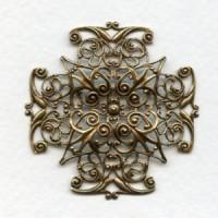 Ornate 47mm Filigree Cross Shape Oxidized Brass