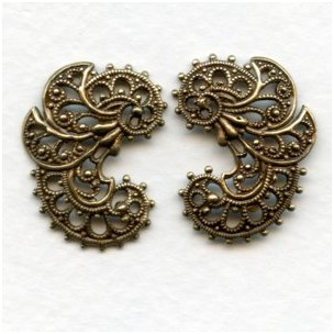 Elegant German Made Filigree Flourishes Oxidized Brass (set)