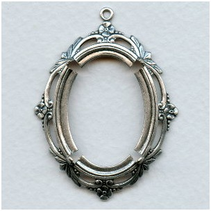 ^Delicate Floral Edge Setting 30x22mm Oxidized Silver (1)